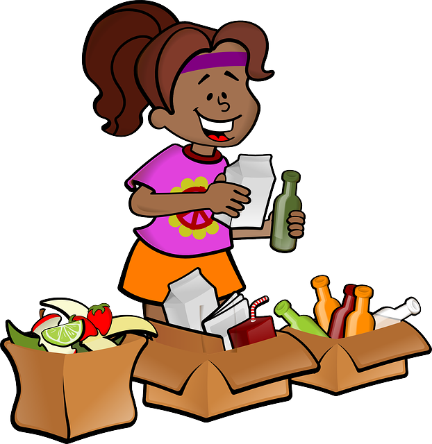 cartoon lady sorting her recyling